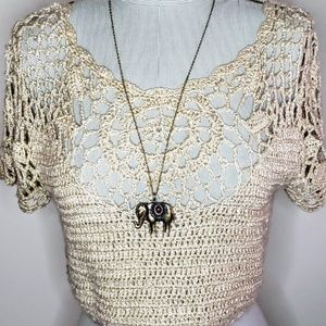 Forever 21 Crochet Festival Crop Top in Beige